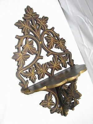 Antique Scroll Cut Walnut Wooden Trinket Wall Shelf Ornate Wood Ivy Leaf