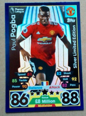 17 18 Match Attax Pogba Silver Limited Edition Card Manchester United Le1S  Mufc