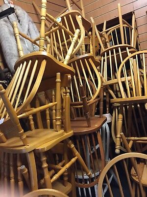 Reduced job lot of 40 mixed beach and pine vintage dinning chairs cafes