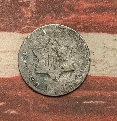1853? 3C Three Cent Silver Piece Vintage US Coin #FH93