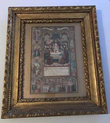 Ornate Antique Gold Gilt Carved Wood Frame-16 by 19-With Religious Certif 1902