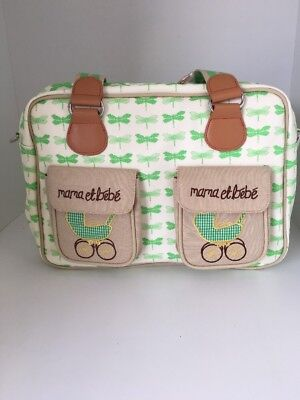 Pink Lining Mama Et Bebe Baby Changing Nappy Bag Green Dragonflies GD01