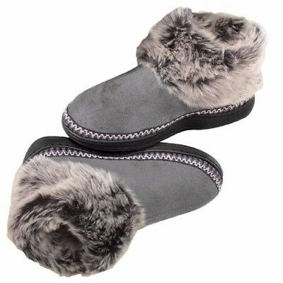 women house slippers Gray black Soft Cozy Fuzzy Clog Small Large