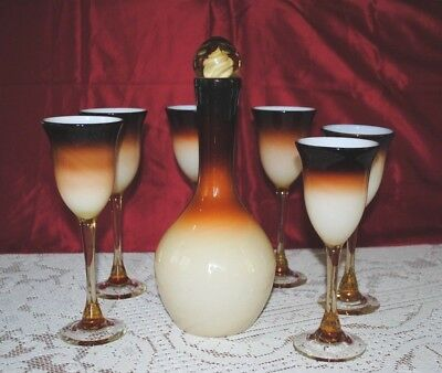 Vintage Correll Blown Glass Decanter and 6 Goblets