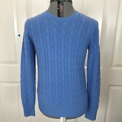 Polo Ralph Lauren Unisex Crewneck Sweater 100% Cashmere Cable Knit Sz L 14-16