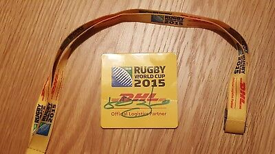 Lawrence Dallaglio Rugby World Cup 2015 signed coaster and lanyard.
