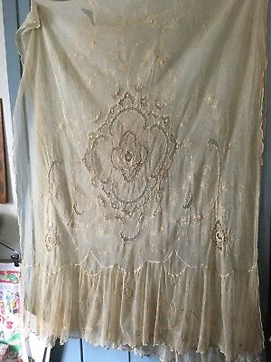 ANTIQUE ivory tambour net lace bedspread cover embroidery Twin And Pair Curtains
