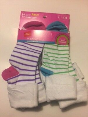 Hanes Girls Ez  Sort Turn Cuff Socks 6Pack--Large (4-10)