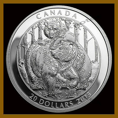 Canada $20 Dollars Silver Proof Coin, 1 oz 2015 Grizzly Bear Togetherness