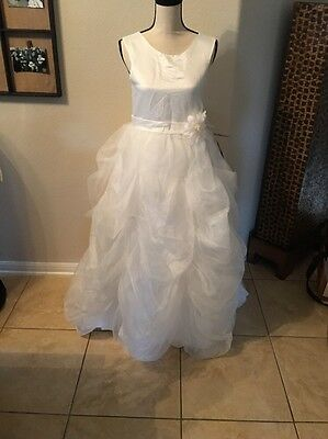 Ivory Flower Girl Princess Dress Crystal Party Pageant Gown Size 13