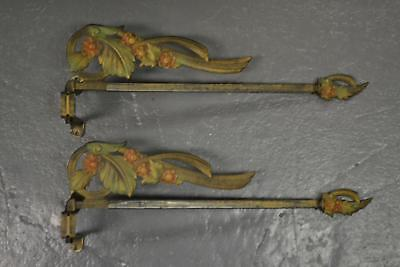 2 Antique Cast Metal Swing Arms Curtain Drapery Rod Victorian Flowers Left & Rig