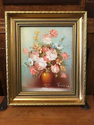 Lovely Vintage Robert Cox Oil On Canvas Gilt Frame Painting Flowers In Bloom