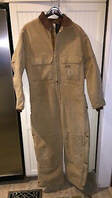 Carhartt Mens One Peice Suit Quilted Lined Coveralls Size 46 Short Brown