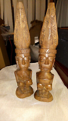 Pair of Vintage Hand Carved African Hardwood Bust Heads with Headress Figures