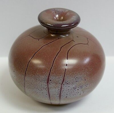 "Signed Contemporary Chinese Pottery Terracotta Speckle Glaze Vase 3"" Tall"