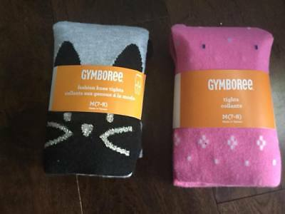 NWT Girls Size 7/8 Gymboree Tights Lot Of 2 - Kitty and pink design So Cute - !
