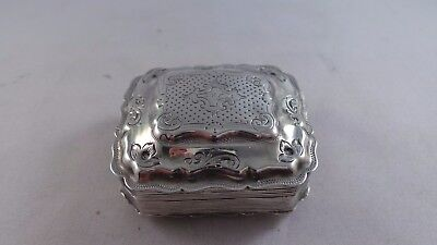 Very Nice Antique Dutch Silver Cachou / Peppermint Box C 1850