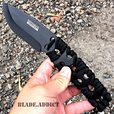"10"" TACTICAL SURVIVAL Rambo Full Tang FIXED BLADE KNIFE Hunting w/ SHEATH-H"