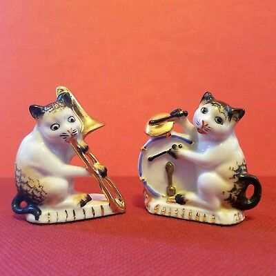 2 Vintage Porcelain Anthropomorphic Cat Miniature Orchestra Band Germany