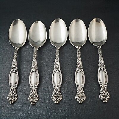 5 International Sterling Silver Simpson Hall Frontenac Table Spoons, 310.4 g NR!