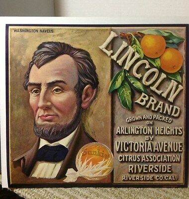 """Vintage Adv. Lincoln Brand Sunkist Navel Oranges Crate Label; 9 x 11"""" Never Used"""