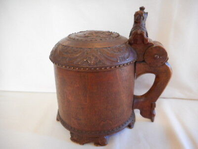 LARGE Antique Wooden Stein with Carved Lion on Lid and Handle  FANTASTIC!!!