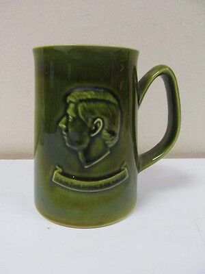 Holkham Pottery H.R.H. The Prince of Wales Green Mug CAERNARVON 1969