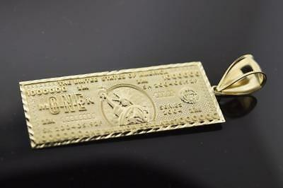"""Solid Real 10K Yellow Gold 2.6"""" One Million Dollar Stamped Money Pendant Charm"""