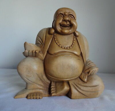 Aque Hand Carved Wood  Buddha Statue Figurine One Of Kind