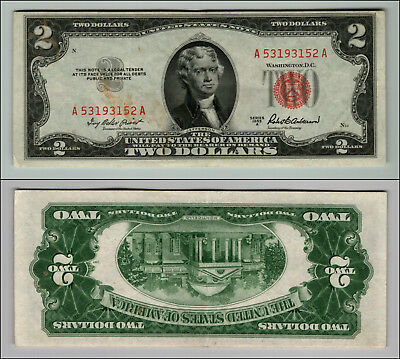 1953A $2 Dollar Bill Old Us Note Legal Tender Paper Money Currency Red Seal P25