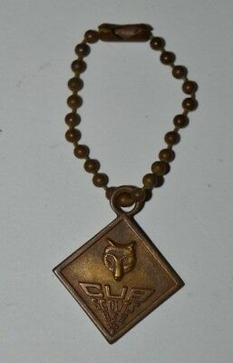 Vintage Cub Scouts Brass Tone Aged Promise Key Chain Rare BSA Be Square Version