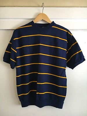 Vintage 1960's Penny's Towncraft Striped Navy Blue Crew Collar 60s Shirt Sweater