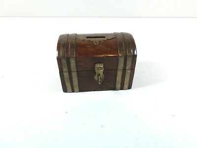vintage solid wood with brass embellishments small chest money box