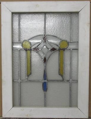 "MID SIZE OLD ENGLISH LEADED STAINED GLASS WINDOW Cute Abstract 20.25"" x 27"""