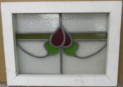 "OLD ENGLISH LEADED STAINED GLASS WINDOW Cute Floral 19.25"" x 14.25"""