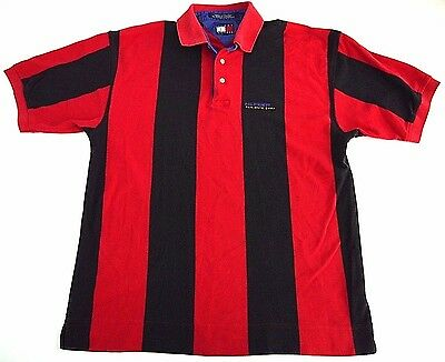VINTAGE 90s Tommy HILFIGER ATHLETIC GEAR mens striped colorblock polo shirt M