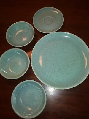 """LAUREL CALIFORNIA VINTAGE 10"""" PLATE, SAUCER AND BOWLS--Turquoise Speckled"""