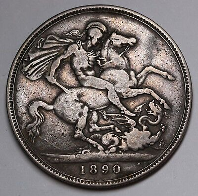 1890 UK Great Britain Crown KM# 765 Sterling Silver Coin