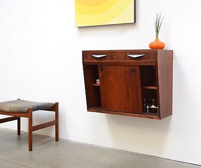 Danish Modern Rosewood FLOATING Credenza Wall Entry Chest Table Bar Mid Century