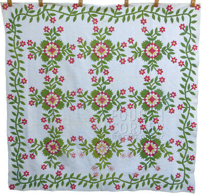 GLORIOUS quilting 10-11spi WHIG ROSE & Vine antique APPLIQUE RED & GREEN quilt
