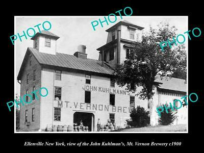 OLD LARGE HISTORIC PHOTO OF ELLENVILLE NEW YORK, THE MT VERNON BREWERY c1900