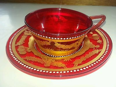 Antique Red Venetian Glass gilded Gold Jeweled 1890s demitasse Set Saucer Cup