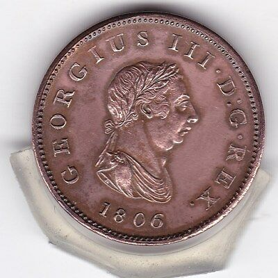 1806   King  George   III   Half   Penny  (1/2d)  Copper 'SOHO' Coin