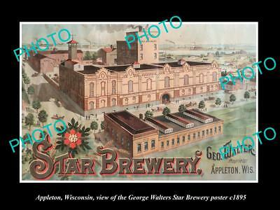 Old Large Historic Photo Of Appleton Wisconsin, Walters Star Brewery Poster 1895