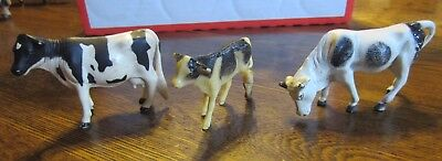 3 Vintage Farm Animals 1 Rubber  Cow  1 Rubber Bull Made In China 1 Nylint Calf