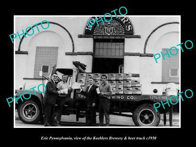 OLD LARGE HISTORIC PHOTO OF ERIE PENNSYLVANIA, THE KOEHLER BREWERY TRUCK c1950