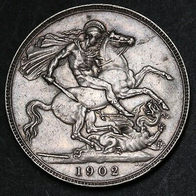1902 UK Great Britain Crown KM# 803 Edward VII 's Only Crown Sterling Silver