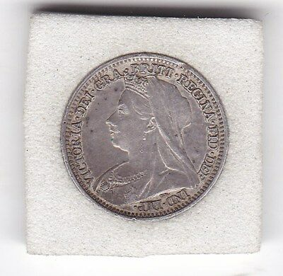 Very Sharp  1900   Queen  Victoria  Threepence  (3d)  Solid Silver (92.5%) Coin