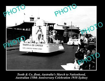 OLD LARGE HISTORIC PHOTO OF TOOTH & Co BREWERY ADVERTISING FLOAT ca1938
