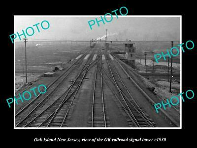 OLD HISTORIC PHOTO OF OAK ISLAND NEW JERSEY, THE OK RAILROAD SIGNAL TOWER c1930